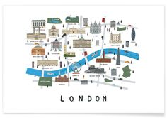 London Map als Premium Poster von Alex Foster | JUNIQE