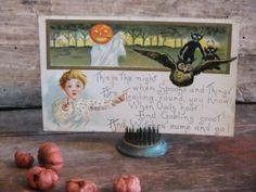 Vintage Halloween Postcard 1910 Goblins Owl by TreasuredPrimitives, $24.00
