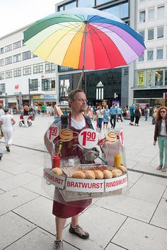Ok... not a pushcart, but a close second: One-man bratwurst street vendor Germany