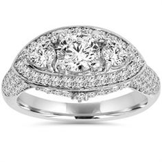 Vintage Antique 3 Stone Diamond Vintage Antique Engagement Ring White Gold, Women's - Women's ring features a center and two sides and 88 round cut accent diamonds set in solid white gold. Halo Engagement Rings, Antique Engagement Rings, Antique Rings, Three Stone Diamond Ring, Diamond Rings, Marquise Diamond, Halo Diamond, Thing 1, Vintage Diamond