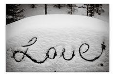 The Word Love Written in Fresh Snow