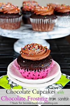This is the BEST recipe for Homemade Chocolate Cupcakes with Chocolate Frosting!! http://backforsecondsblog.com #chocolate #dessert #cupcakes