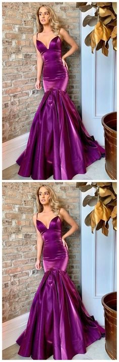 Mermaid Spaghetti Straps Sweep Train Purple Prom Dress by olesaweddingdresses, $134.92 USD Classy Prom Dresses, Formal Dresses, Party Dresses, Wedding Veil, Different Fabrics, Spaghetti Straps, Ball Gowns, Evening Dresses, Fashion Dresses