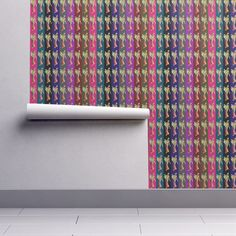 Isobar Durable Wallpaper featuring INDIAN MOM AND BABY SARI STRIPES MULTICOLOR by paysmage | Roostery Home Decor