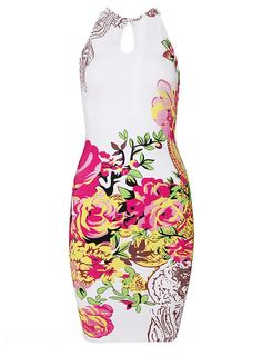 ihomecoming.com SUPPLIES Stylish Jewel Neck Colorful Floral Printed Sheath Little Party Dress Little Party