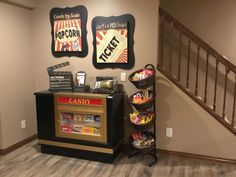 Theater Concession Stand with Candy Case Custom concession stand with Headliner candy case turned out amazing!Custom concession stand with Headliner candy case turned out amazing! Theater Room Decor, Movie Theater Rooms, Home Cinema Room, Home Theater Setup, Home Theater Seating, Game Room Decor, Home Theater Design, Basement Movie Room, Home Theatre Rooms