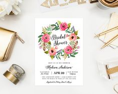 Printable  Wild Flowers Bridal Shower Invitation by fineanddandypaperie
