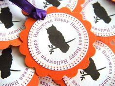 25 Happy Halloween Scalloped Circle Owl by WeddingsBySusan on Etsy, $11.25, www.weddingsbysusan.etsy.com