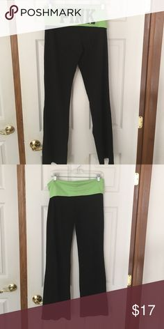PINK bootcut yoga pants Size medium. Good condition. Lime green band at top. PINK Victoria's Secret Pants Track Pants & Joggers