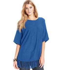 NY Collection Dolman-Sleeve Fringe Sweater