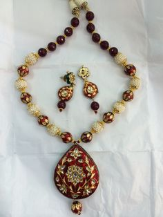 Enamel kundan meena pendal set perfect for any occasion