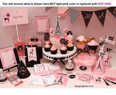 Paris Party Hot Pink Invitation and Kit Printable by paperglitter, $14.95