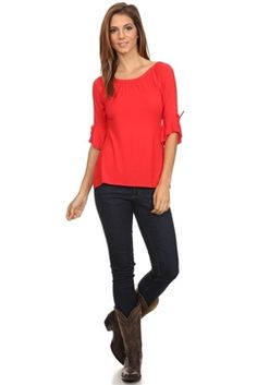 Red boat neck tee with bell sleeves.
