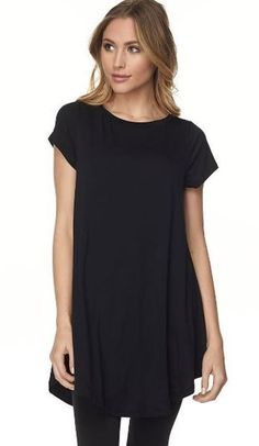 96713117f49 PLUS SIZE BLACK Modal Rayon A-Line Short Sleeve Tunic Top 2X Bust 46-