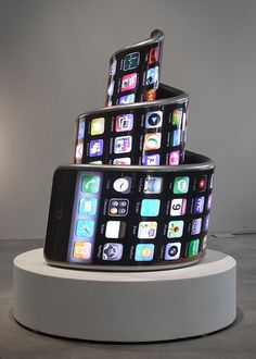 "Tower of Babble! This is ""3G International,"" a smartphone-inspired sculpture by Aristarkh Chernyshev & Alexei Shulgin."