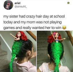 My Sister Had Crazy Hair Day At School Today And M. ~ Memes curates only the best funny online content. The Ultimate cure to boredom with a daily fix of haha, hehe and jaja's. Crazy Hair Day At School, Crazy Hair Days, School Today, Stupid Funny, Funny Cute, Really Funny, Hilarious, Haha, Mom Quotes From Daughter