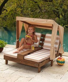 Double Chaise Lounger With Canopy Cup Holder. When the weather gets hot, children will be protected. lemonade will fit in the custom cup holders. ThisKids Outdoor Double Chaise Lounger With Canopy. Chaise Chair, Chaise Lounges, Pallet Furniture, Kids Furniture, Kids Outdoor Furniture, Furniture Decor, Furniture Plans, Adirondack Furniture, Furniture Layout