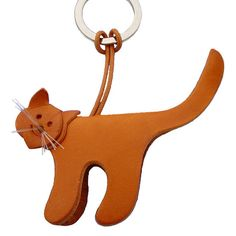 Cat Leather Keychain by ConPiel on Etsy