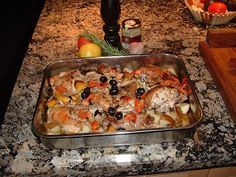 Baked Chicken with lemon and olives