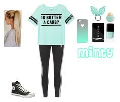 """""""Minty """" by xoxo-rida ❤ liked on Polyvore featuring adidas Originals, Victoria's Secret PINK, Sephora Collection, Converse, Nails Inc., Accessorize, Eos and Casetify"""