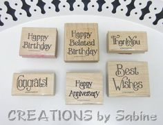 Stampin Up Wooden Stamps Set of 6 Favorite Greetings Happy Birthday + Belated Congrats Happy Anniversary Thank You Best Wishes 1996 (61)