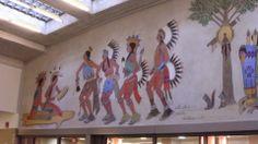 Department of Interior Cafeteria mural by James Auchiah, Harvest Dance (AKA Dance Festival), 1939 -- left side