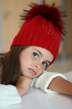 Red Kids Hat Knitted Childrens Beanie Cable Knit by ShopLaLune