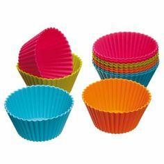 Kitchen Craft Colourworks - Moldes de silicona para magdalenas (12 unidades): Amazon.es: Hogar