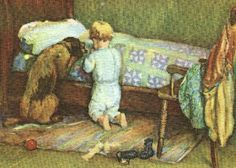 boy and his dog praying
