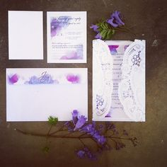 Lace purple blue wedding invitations