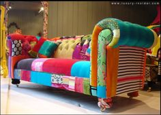 Upcycle-This: Patchwork Furniture. Moy will LOVE it if I put something like this in my craft room. ;)