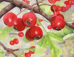 Art de vacances de peinture baies de Noël par SchaferArtStudio