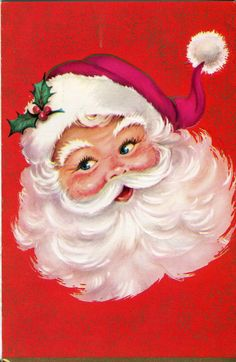Vintage Garrison Christmas Card: Santa Claus on Red and Gold Background
