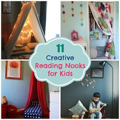 There should be books in all the Nooks! -- Thrive 360 Living: 11 Creative Reading Nooks for Kids Toddler Reading Nooks, Reading Corner Kids, Kids Corner, Reading Loft, Children Reading, Book Nooks, Kid Spaces, Girls Bedroom, Bedroom Office