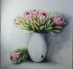 Protea Art, Protea Flower, Flowers, Illustration Art, Illustrations, Garden Crafts, Giraffes, Acrylic Art, Scrapbook Albums