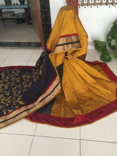 Tri-Coloured Chanderi with Patch Work Saree