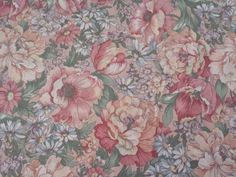 Country Florals by Joan Kessler for Concord BTY Calico Flowers on Peach in Crafts, Fabric | eBay
