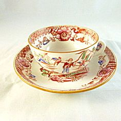 Hilditch Chinoiserie Cup and Saucer, circa 1820s.