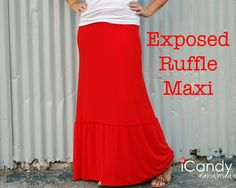 DIY Exposed Ruffle Maxi Skirt #DIY #Sewing #Sew #Clothes #Skirts #MaxiSkirts