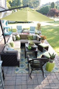 Umbrella Addition to the Patio Southern Hospitality is part of Outdoor patio space - Adventures in Decorating, Thrifting, Cooking, Fashion & Gardening Patio Table, Patio Chairs, Backyard Patio, Backyard Projects, Teak Table, Backyard Ideas, Outdoor Spaces, Outdoor Living, Outdoor Decor