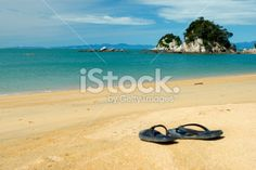 Summer, Jandals on the Beach Royalty Free Stock Photo Abel Tasman National Park, The World Race, Kiwiana, Seaside Towns, New Zealand Travel, Turquoise Water, South Island, Travel And Tourism, Beach Photos