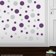 Light Grey / Purple Polka Dot Circles Wall Decals