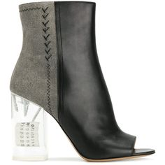 Maison Margiela open toe ankle boots ($1,445) ❤ liked on Polyvore featuring shoes, boots, ankle booties, black, black open toe booties, black high heel booties, black leather ankle booties, short black boots and black leather booties