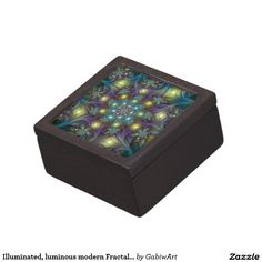Illuminated, luminous modern Fractal Art Pattern Keepsake Box