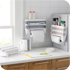 Ambitious Adhesive Paper Towel Holder Under Cabinet For Kitchen Bathroom Convenient To Cook Bathroom Fixtures Paper Holders