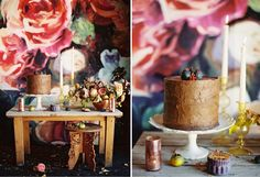 Textural chocolate wedding cake by Pippa Cakery | Rose gold and peach wedding flowers + prop styling by Tinge Floral | Painted floral backdrop by Sarah C. Nightingale | Photos by Ciara Richardson Photography