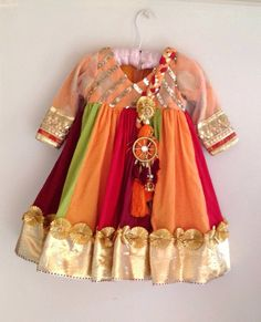 Kids multicolor cotton georgette anarkali with attached braided dupatta Baby Dress Design, Frock Design, Ladies Dress Design, Wedding Dresses For Kids, Dresses Kids Girl, Girl Outfits, Baby Dresses, Fashion Outfits, Frocks For Girls