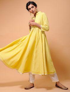 Yellow Cotton Cutwork Kalidar Kurta with Tissue Trim Phoenix Wings, Shopping Coupons, Cutwork, Jaipur, Kurti, Saree, Elegant, Yellow, Cotton