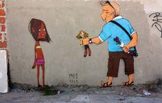 Ein Graffitti des Künstlers Paulo Ito thematisiert die Kinderprostitution in Brasilien. (Foto: Cascais)http://deutsche-wirtschafts-nachrichten.de/2014/06/08/brasilien-fifa-unterstuetzt-projekte-gegen-kinderprostitution-nicht/