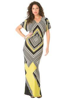 Geometry is made feminine in our sweeping plus size maxi dress for Mother's Day.